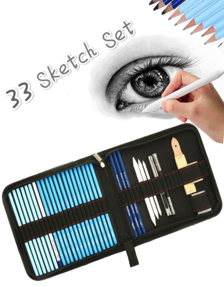 все цены на 33pcs Sketch Pencil Set Professional Sketching Drawing Kit Set Wood Pencil Pencil Bags For Painter School Students Art Supplies