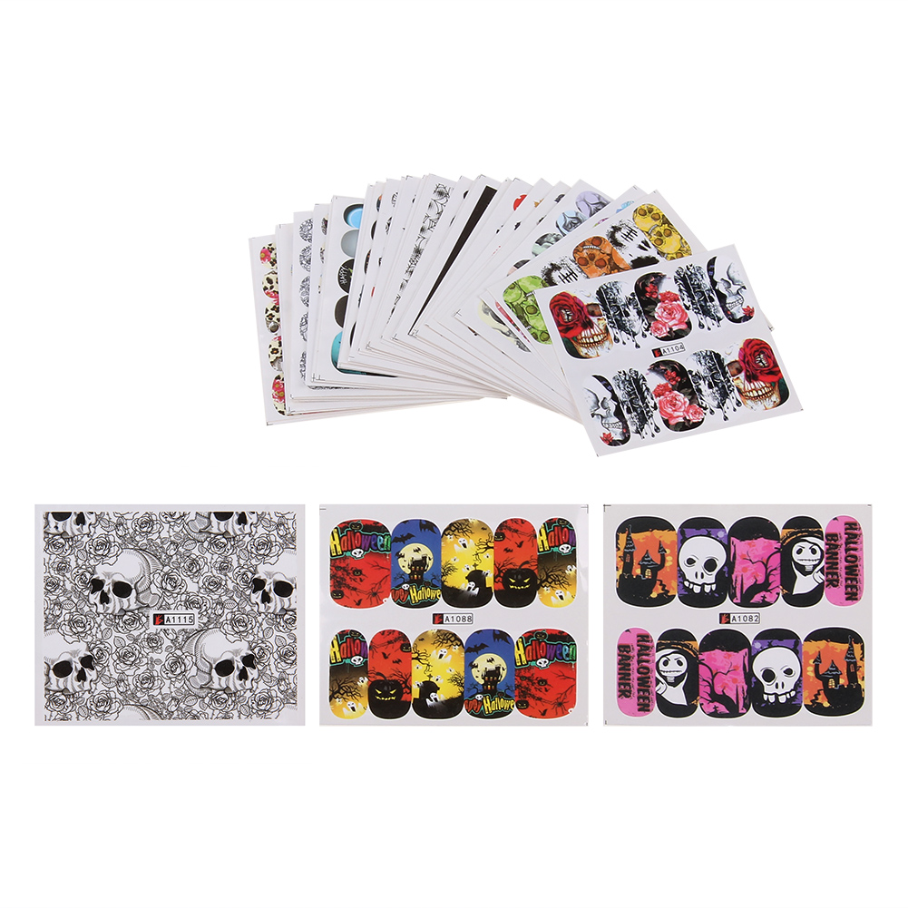 48pcs Nail Art Stickers Halloween Ghost Pumpkin Castle Skull Nail Art Water Transfer Sticker DIY Design Manicure Tips Decal 1 sheet beautiful nail water transfer stickers flower art decal decoration manicure tip design diy nail art accessories xf1408