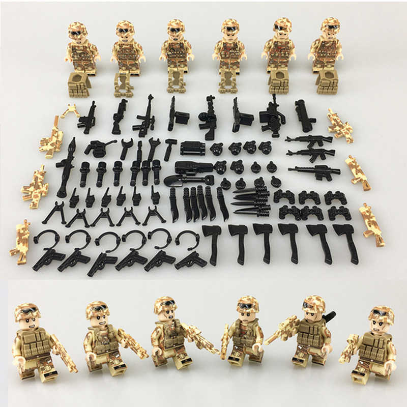 New Legoing Red Sea Special Military Soldier Minifigure Army Weapon Gun SWAT War Building Blocks Bricks Figures Toys Boys Gift