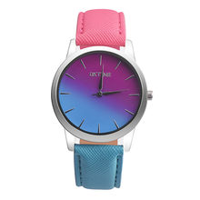 2017 New Fashion Quartz Watch Women Girl Retro Rainbow Design Leather Band Wrist Bracelet Watches erkek saat reloj mujer(China)