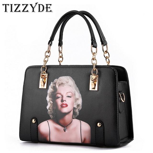 f52c774a6f0 Для Женщин Мэрилин Монро Сумочка с печатными рисунками сумка высокого  качественный вместительный оболочки сумка дизайнер бренда