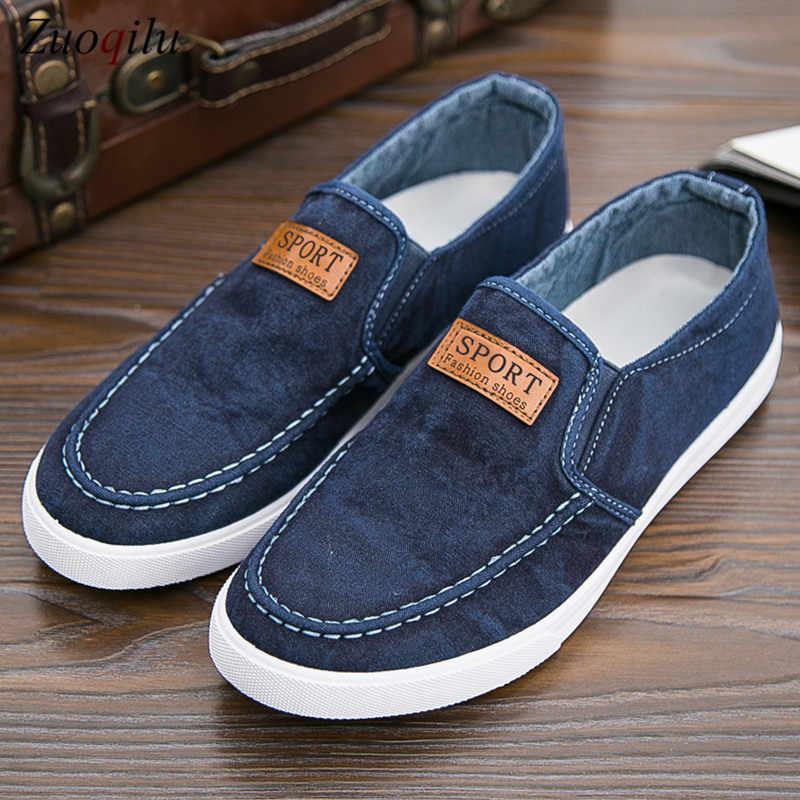 Męskie buty casual Denim męskie tenisówki wkładane mokasyny męskie tenisówki oddychająca miękka płaskie buty do jazdy męskie casual