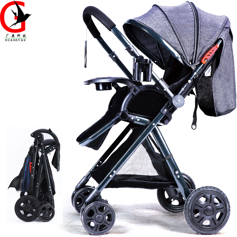 baby carriage 2017 High-landscape Baby Stroller ultra-light can lying & sit two-way four-wheel Shocking proof  Baby Stroller black baby stroller ultra light four wheel boarding folding baby stroller car carriage umbrellababy stroller two way wheeled