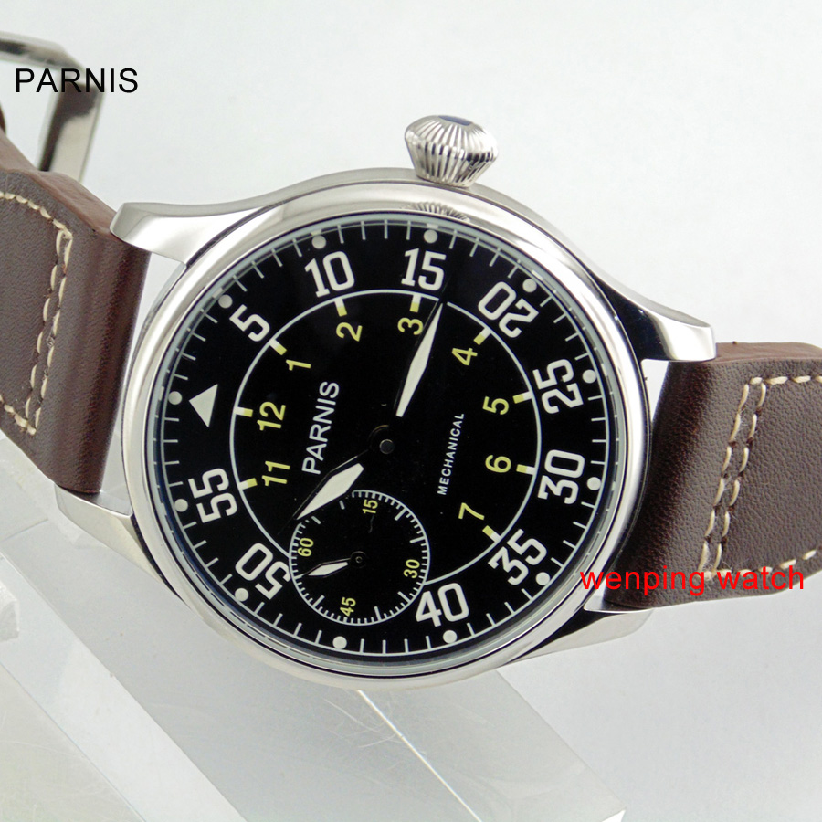 Parnis 44mm Zwarte wijzerplaat Azië st3600 mechanische handwind heren 6497 horloge E2070-in Mechanische Horloges van Horloges op  Groep 1