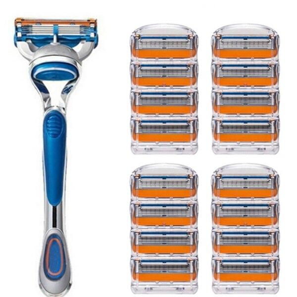 1 titular + n lâmina de barbear para homem lâminas de barbear de 5 camadas para cuidados com o rosto compatível com gillettee fusione navalha