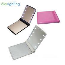 Портативное светодиодное зеркало с светло розовыми лампами для