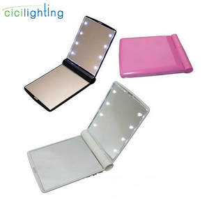 Makeup-Mirror Vanity-Lights Cosmetic Portable Hand Compact Folding