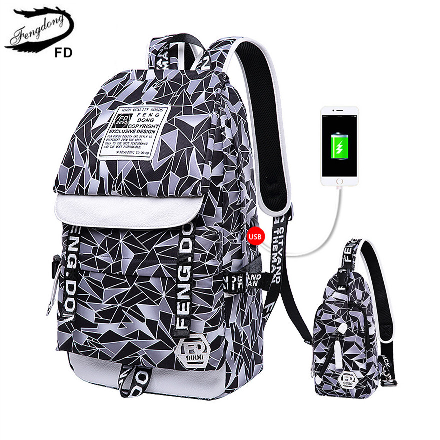 FengDong women travel bags laptop backpack bagpack computer bag backpacks for teenage girls school bags female sling chest bag