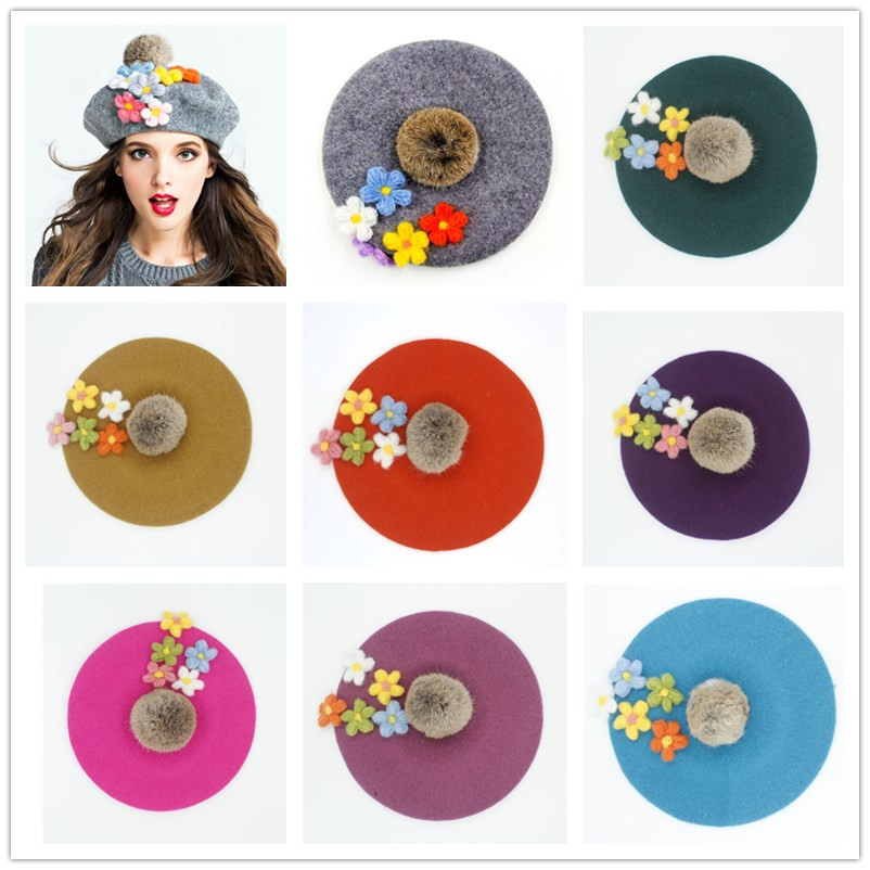 Women's Hats Cheap Sale Winter Warm Wool Womens Top Fur Ball Pom Poms Beret Hat For Laday Artist Embroidery Cap With Handwork Flower Beanie Hats 20 Apparel Accessories