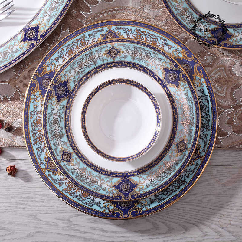 Bone China Western Flat Plates Steak Plate Salad Bowl Food Tray Dinnerware Set Tableware Food Container Pasta Dishes 10inch Dish