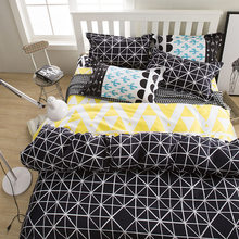 Wongs Hot Lattice Polyester Bedding Sets Black Duvet Cover Set Bed Sheet Single Full Queen King Size Bedlinen Bedclothes 3/4PCS(China)