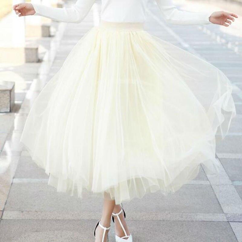Rihschpiece Vintage Maxi Skirts Womens Tutu Tulle Skirt Women Elastic Skirts 3 Lays Long Pleated Black High Waist Skirt RZF897