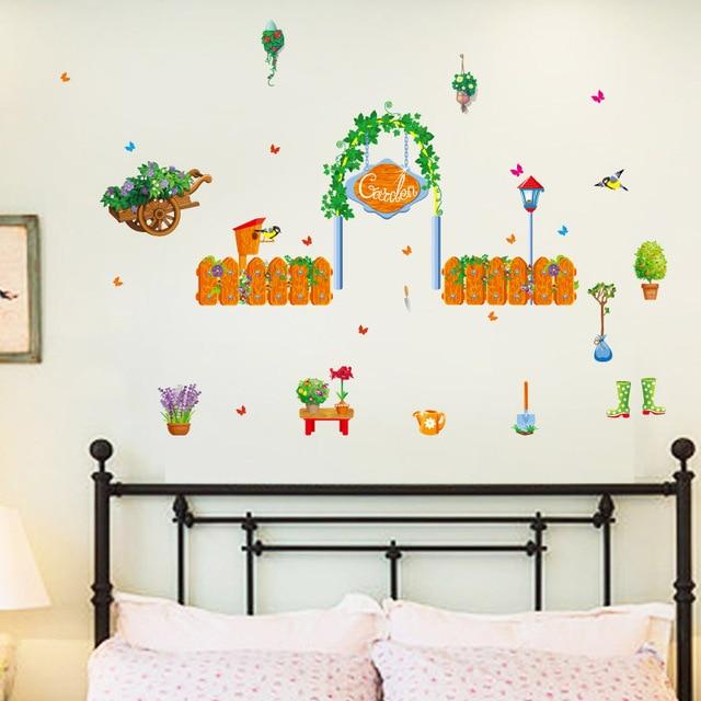 Pianta verde garden wall stickers home decor soggiorno camera da ...
