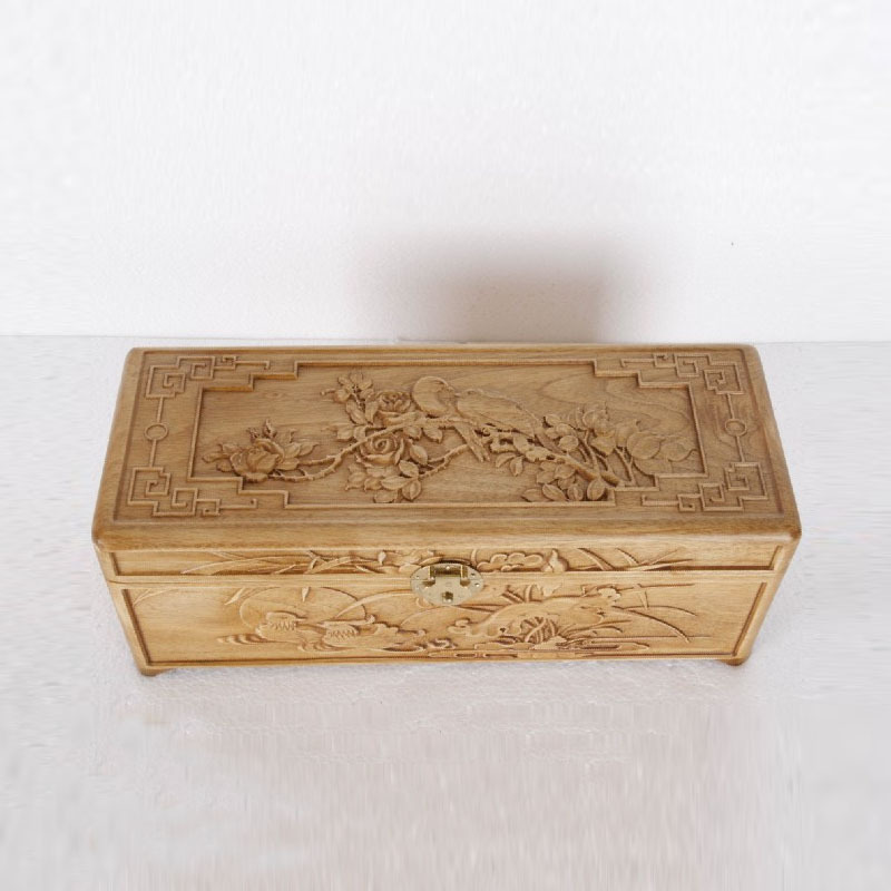 Dongyang wood carving wood carved camphor wood small jewelry box storage box wooden gift box Crafts