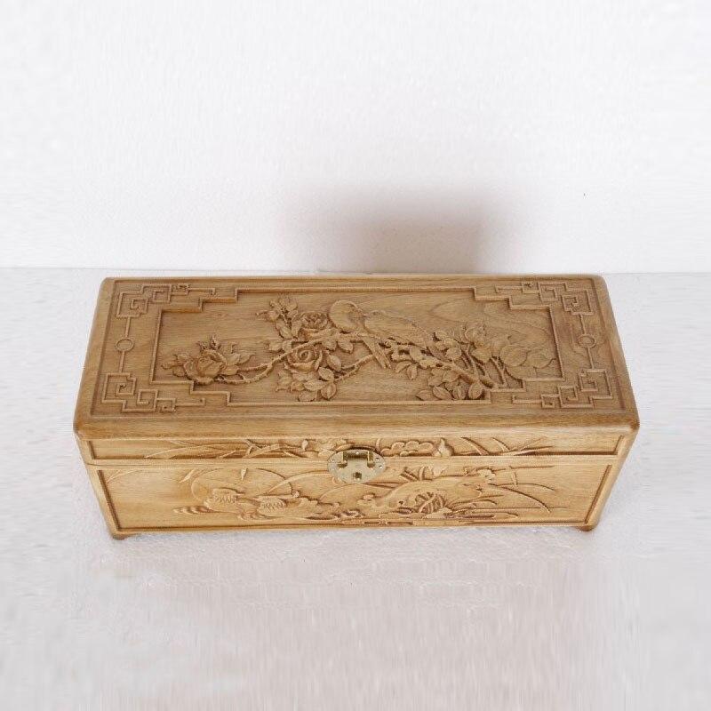 Dongyang bois sculpture bois sculpté camphre bois petite boîte à bijoux boîte de rangement en bois boîte cadeau artisanat