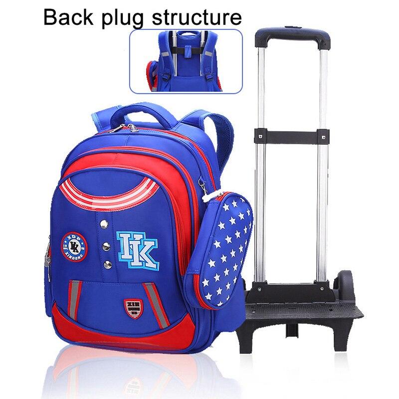 2018 sacs d'école de chariot pour des filles garçons adolescents enfants sac à dos d'école avec 3 roues enfants sac à dos bagage à roulettes