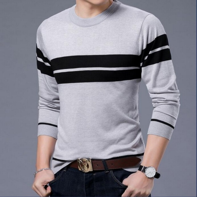 2018 Wool Sweater Plus Sizemens Sweater Pullover Men Stripe Knitting Sweater Male Wool Sweaters