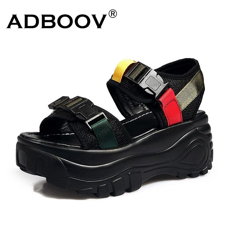 ADBOOV Nouvelle Plateforme sandales à talons compensés Femmes Semelle Épaisse Ouvert Orteil D'été Plage Sandalias Mujer 2019 Boucle décontracté Chunky Chaussures Femme