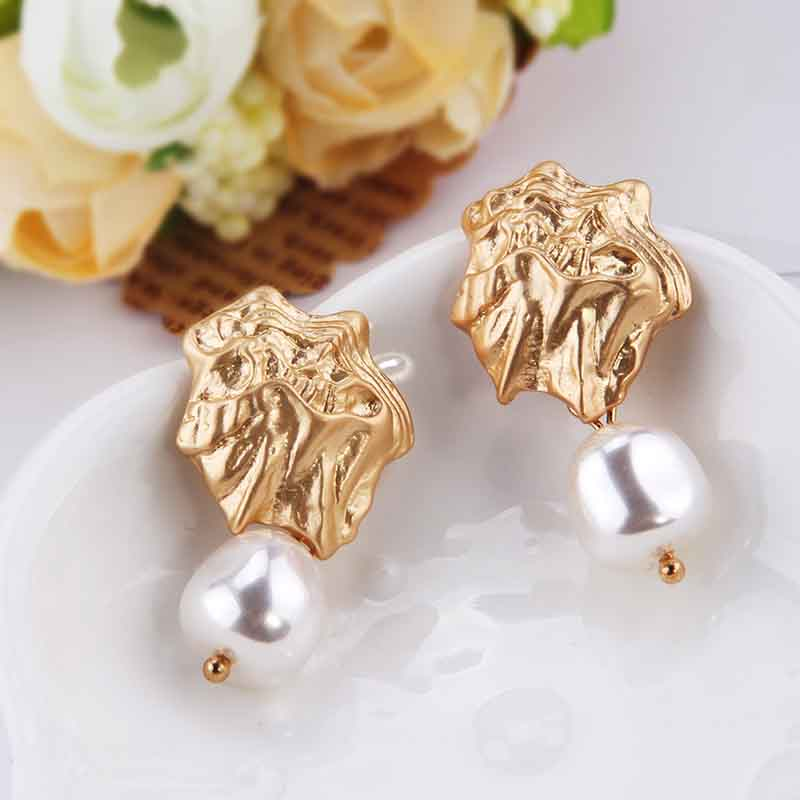 aiboduo New Fashion Big Half Circle Earring Women Freshwater Pearl Paved Drop Earring For Women Fine Banquet Gifts E00022 in Drop Earrings from Jewelry Accessories
