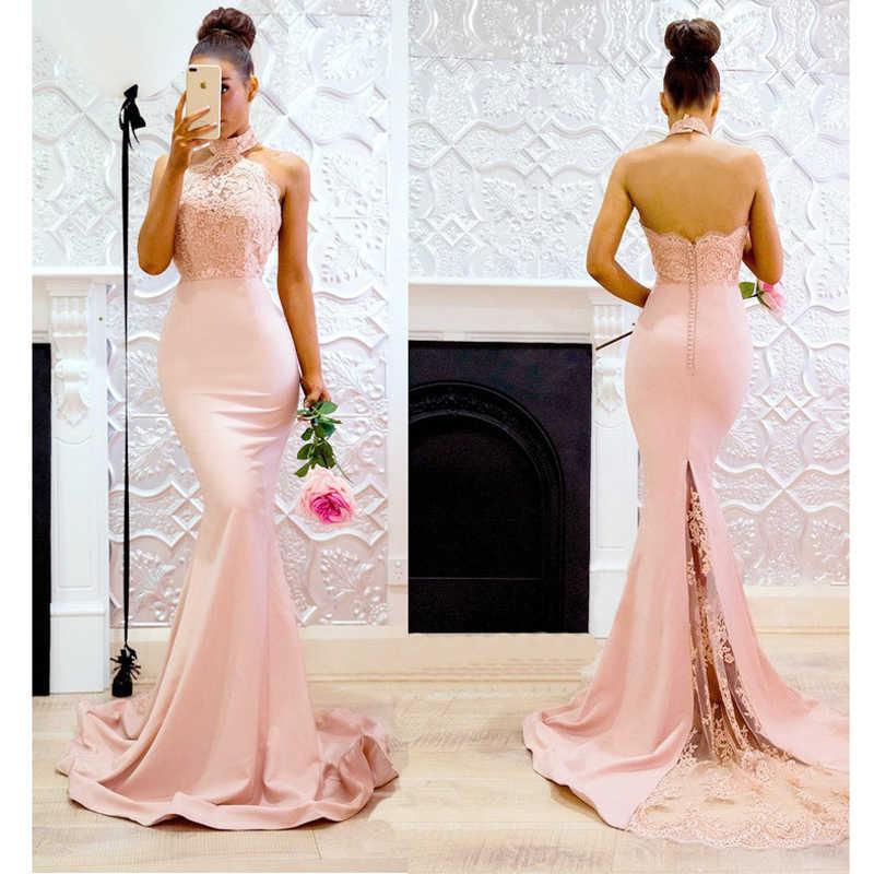Vestido de dama de Honor largo Sexy con hombros descubiertos con apliques de vestido de dama de Honor Formal