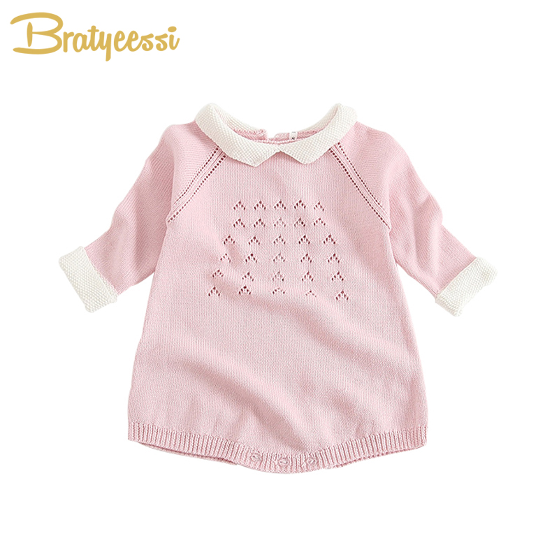 Spring Knitted Baby Girls Rompers Long Sleeve Toddler Jumpsuits Infant Baby Girl Clothes 6M lovely 2017 baby girls infant rompers long sleeve jumpsuits ruffles princess girl sweet knitted overalls infant romper 9 36m