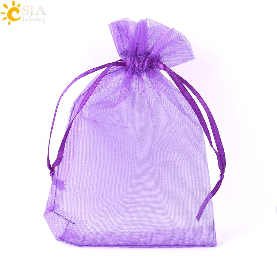 CSJA Drawable Pouches Silk Pouches Organza Gift Bags Wedding Party Decoration Jewelry Packaging Red Multicolor 10pcs/lot F635