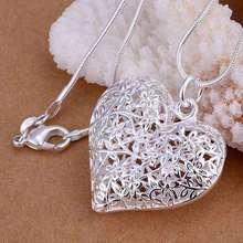 Free Shipping silver plated Jewelry Pendant Fine Fashion Cute Silver Plated Heart Necklace Pendants Top Quality CP218