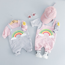 2019 Spring Newborn Baby girl boy Clothing Suit fashion rainbow Suit T-shirt + Pants Suit baby clothing sports suit Clothing Set цены