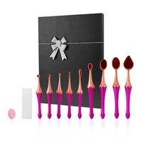 9 Stück Zahnbürste Make-Up Pinsel Werkzeuge Stiftung Pulver Oval Make-Up Pinsel-set Schönheit make-up pinsel Kleinkasten Geschenk für Frauen