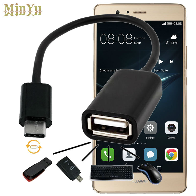 17cm USB-C 3,1 tipo C tipo vyriškas į USB 2.0 kabelių adapteris OTG duomenų sinchronizavimo įkrovimo jungtis Huawei P9 Plus / P9 garbei 8 V8 C tipo OTG