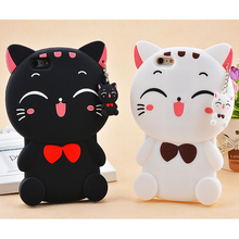 3D Cute Cartoon Lucky Cat Soft Silicone Mobile Phone Back Case Cover Skin Shell For iPhone 4G 4S 5G 5S 6G 6S 6 PLUS 7G 7 Plus ziqiao cute cartoon cat shaped protective soft silicone back case for iphone 4 4s red blue