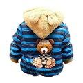 1 шт. Розничная мальчиков Медведь Зимнее Пальто, дети верхняя одежда, дети хлопок толстые теплые толстовки куртки мальчики одежда на складе