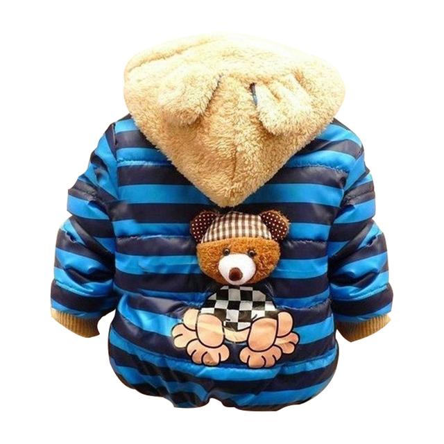 1 unid Retail niños Bebés Oso de Invierno, niños prendas de Abrigo, los niños de algodón gruesa caliente sudaderas con capucha chaqueta de los muchachos ropa en stock