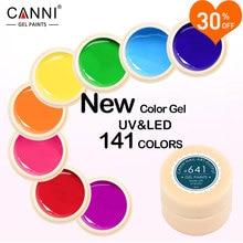 CANNI Verniz Gel 5 ML 141 Cores Puras UV Gel Manicure DIY Dicas Da Arte do prego Gel Polonês Projeto 50618 Cor Da Pintura Do Prego Gel verniz