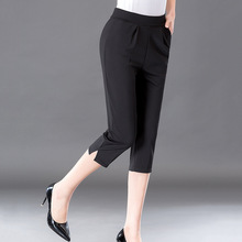 MISSMEOW Summer pants women casual high waist black split thin pencil plus size womens trousers
