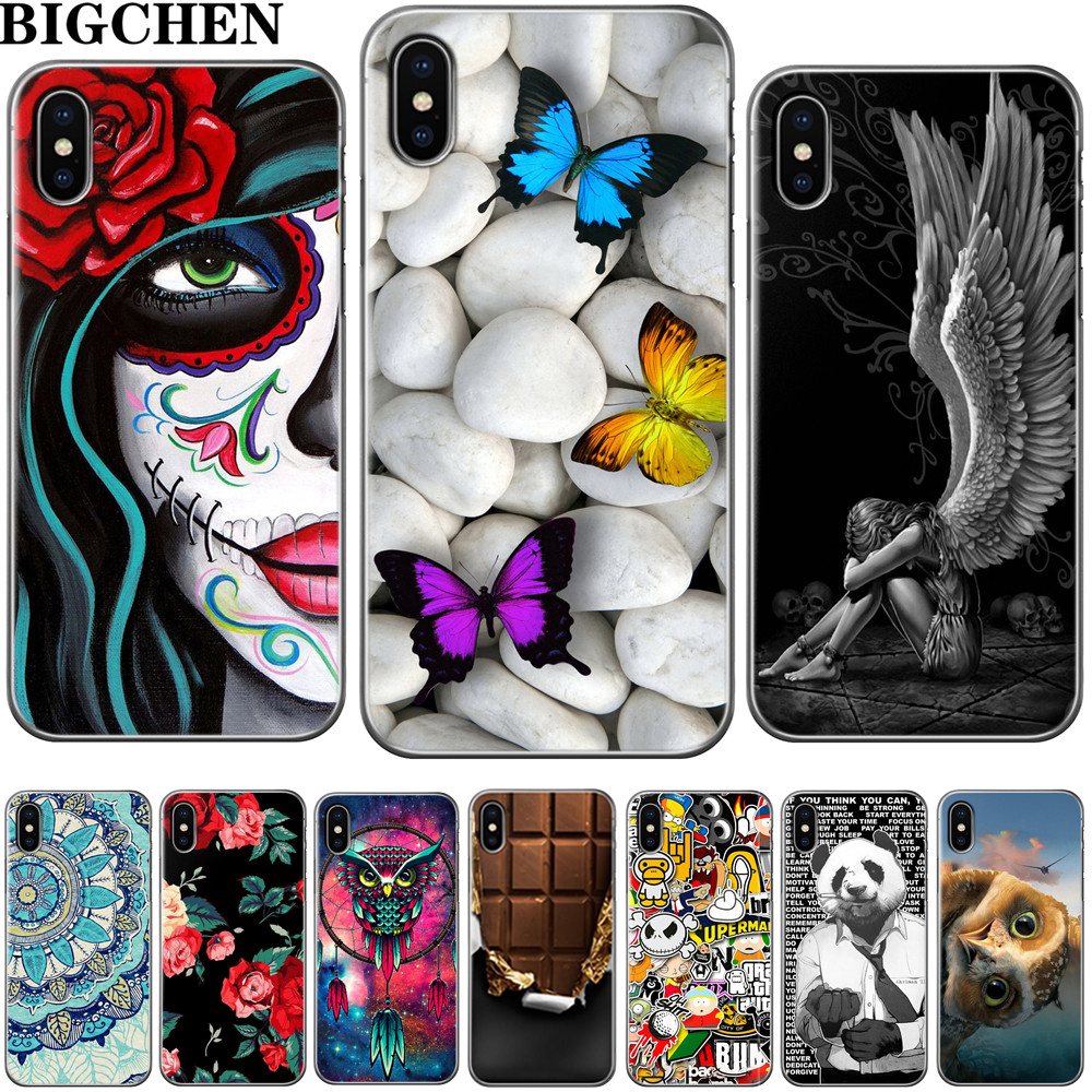 BigChen For iphone 5s 5 SE 6 6s 8 6/7/8 plus X Cool Owl Cat Cartoon Flowers image Painted Silicone Phone Case For iphone 7 case
