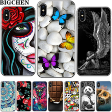 ФОТО bigchen for iphone 5s 5 se 6 6s 8 6/7/8 plus x cool owl cat cartoon flowers image painted silicone phone case for iphone 7 case
