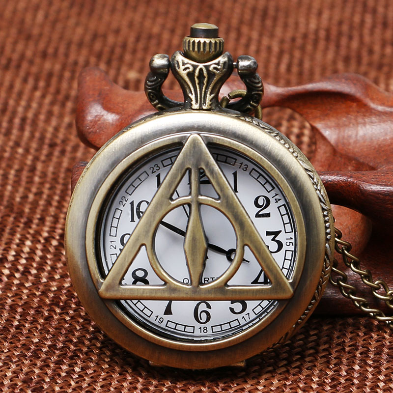 Vintage Bronze Hollow Triangle Tripod Design Pocket Watch Men Unique Pendant Watches Women Hours Birthday Gifts P1017