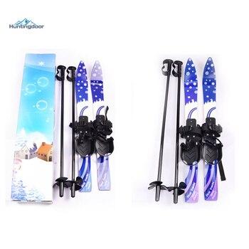 Outdoor junior skis w/snowboard pole bindings boots komperdell alpine skiing board for kid 5-10 years