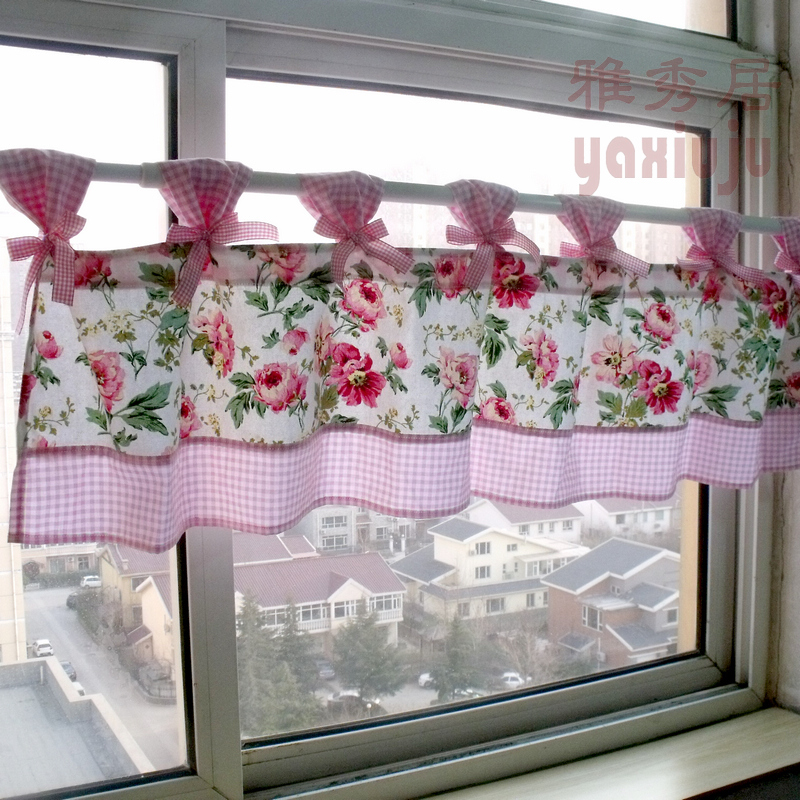 Free shipping Plaid bow sling peony flower cotton kitchen curtains for living room bedroom coffee curtain 150*40cm customized