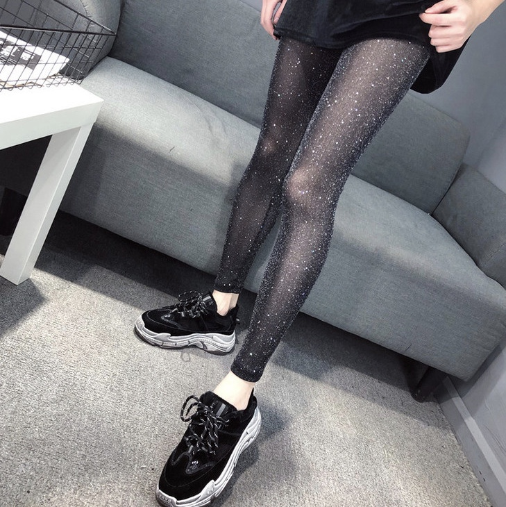 Sexy Mesh Eye Transparent Flashing Bricks Women Leggings For High Waist Plus Size Jeggings Fashion Push Up Fitness Legins 0712(China)
