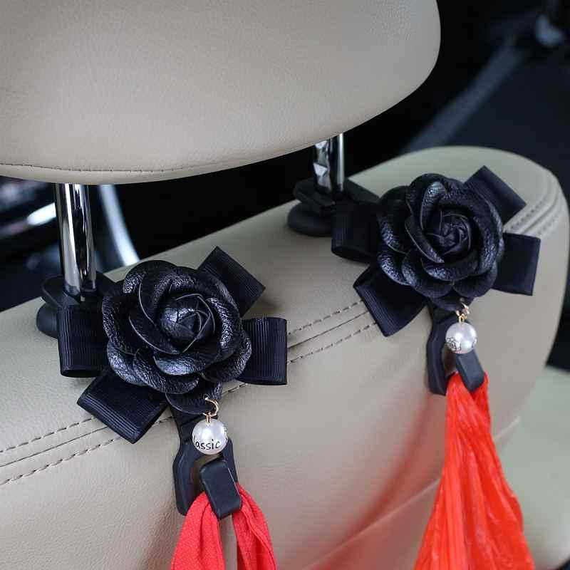 2 יח'\חבילה קמליה פרחים רכב מושב אחורי ווי קולבים ארגונית משענת ראש הר אחסון ווים קליפים סטיילינג אביזרי רכב