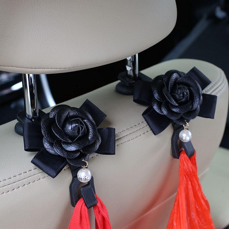 2stk / lot Camellia Blommor Bilsits Bak Krokar Hangers Organizer - Bil interiör tillbehör - Foto 5