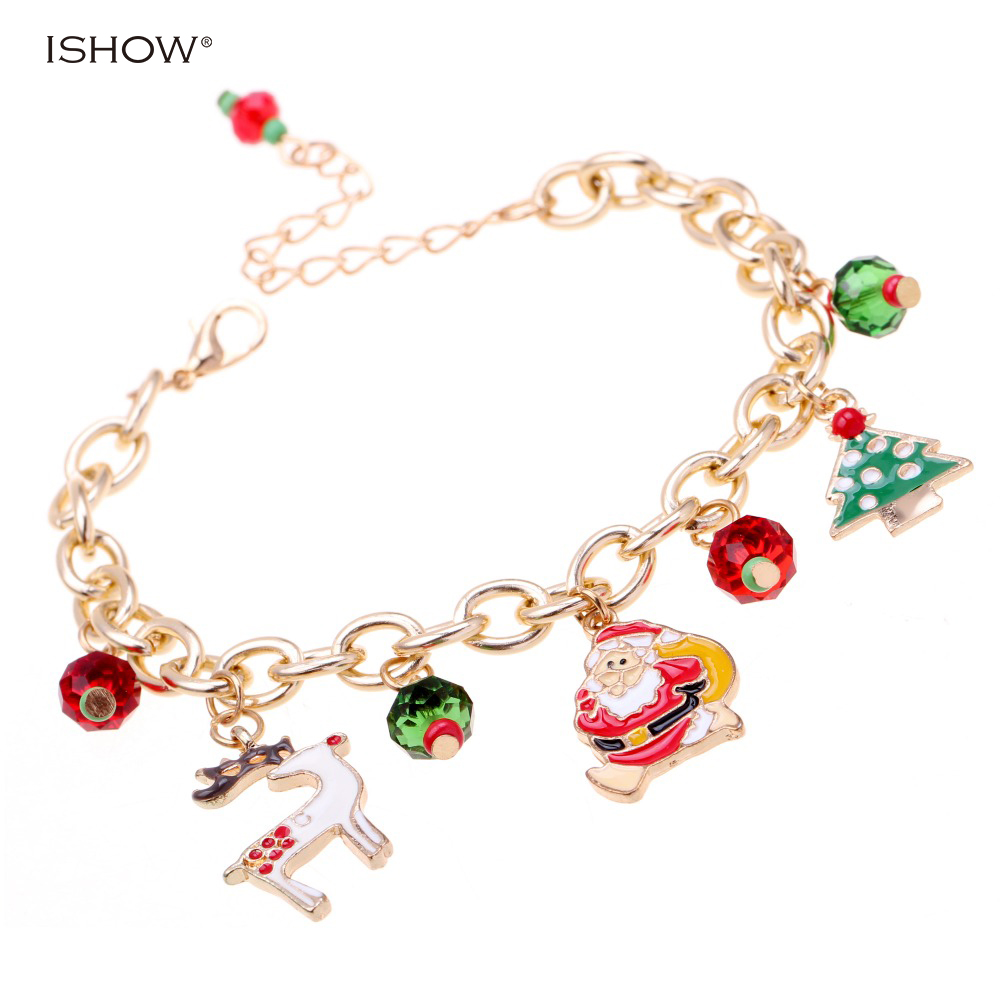 Christmas bracelets Gold chain charm bracelet pulseras mujer bracelet jewelry Santa Claus bracelets Christmas gift Accessories ...