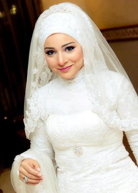18f45ec988 Free Shipping White Tulle Lace Embellished Saudi Arabic Muslim Bridal Veil  Blink Crystals Hijab Wedding Veil