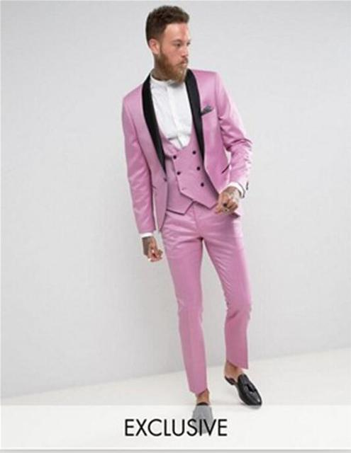 2017 Latest Coat Pant Designs Hot Pink Men Prom Suit Tuxedo Slim Fit ...