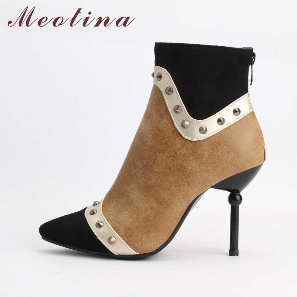 Meotina/сапоги на высоком каблуке; женские зимние ботильоны на шпильке с заклепками и острым носком; модные полусапожки на молнии; сезон осень; цвет синий, коричневый; 46