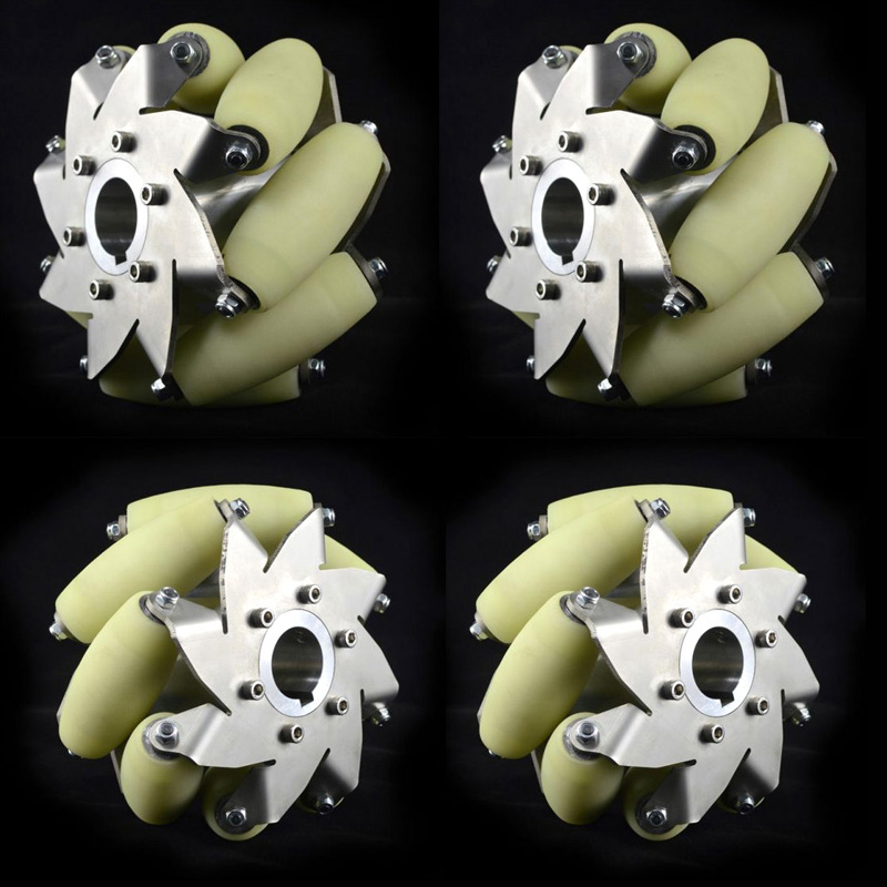 A Set of 150 Kg Load Industrial 6 Inch Wheels Mecanum Wheels with 8 PU Roller Online Wholesale( 2 Left , 2 Right) a set of heavy duty mecanum wheel with imported material pu roller 14169