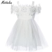 Mottelee Toddler Flower Girls Dress Baby Baptism Birthday Dresses White Christening Strap Cute Infant Outfit Formal Fancy Frock