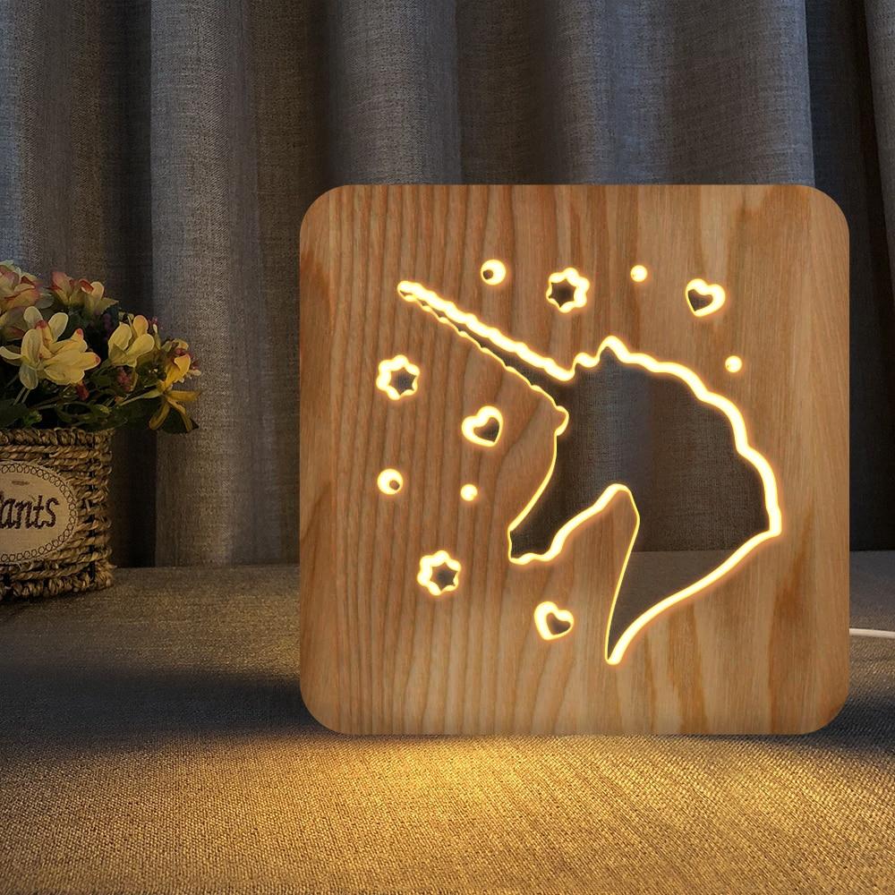 Unicorn Wood Base Table Lamps 3D Night Light Unicorn Optical Illusion Night Lamp Creative Wooden Warm Light USB Low Power Lamp